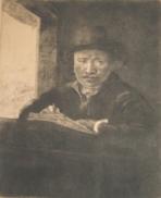 R1. Rembrand, Autoportret desenand la fereastra (1648)